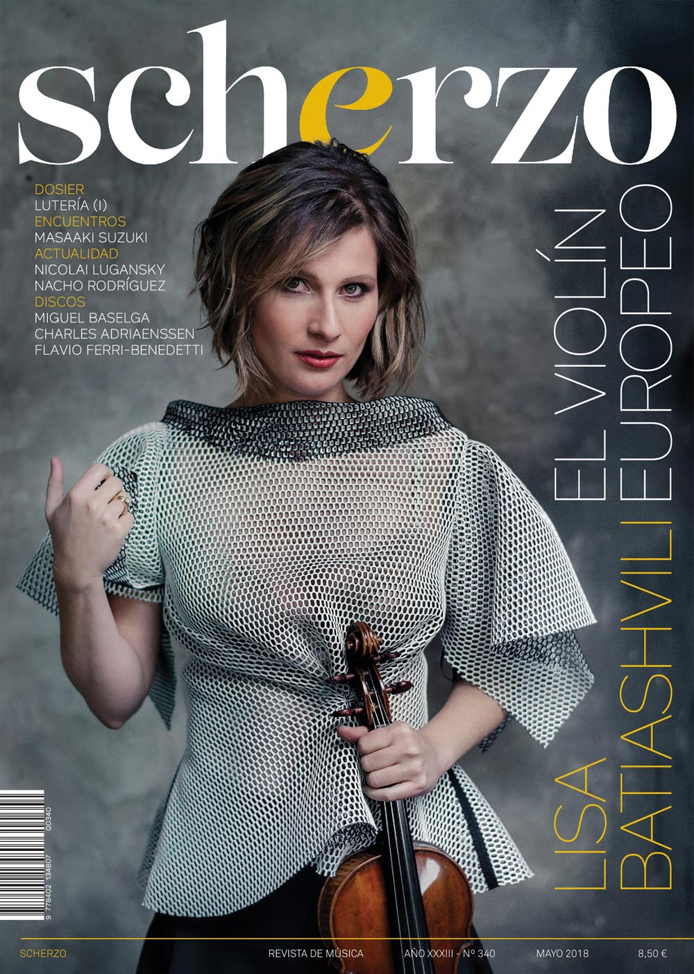 Diseño de portada revista Scherzo Lisa Batiashvili