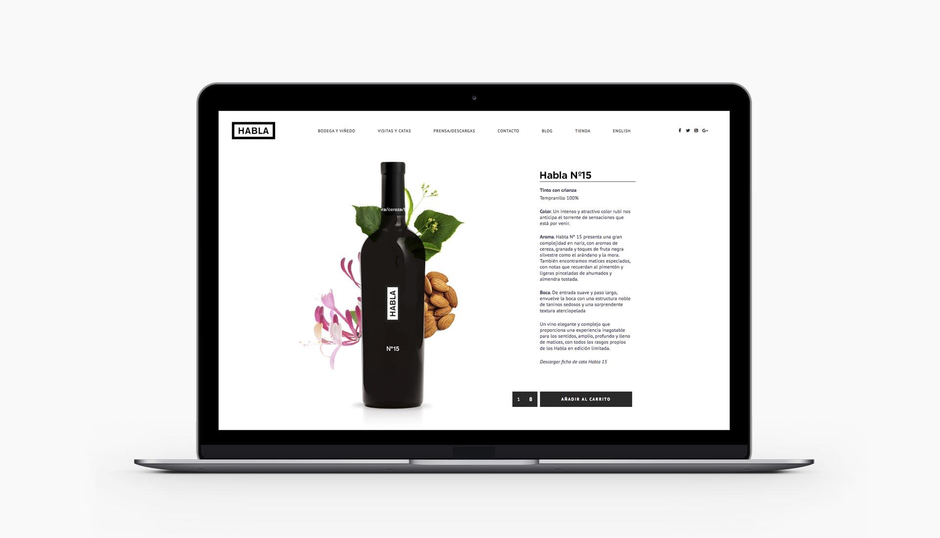 diseño de los vinos Habla - web - Valentín Iglesias