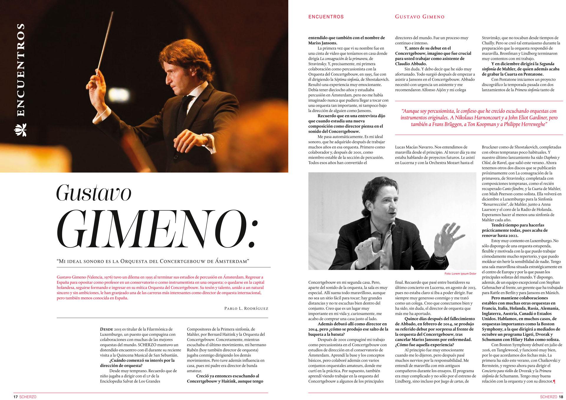 Diseño de la revista Scherzo