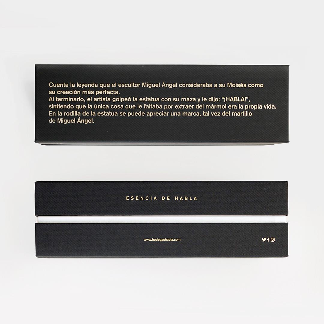diseño de los vinos Habla - Valentín Iglesias - leyenda Moisés marca Habla